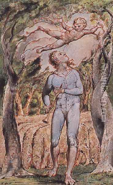 Songs of Innocence; 'the Piper' Oil Painting - William Blake