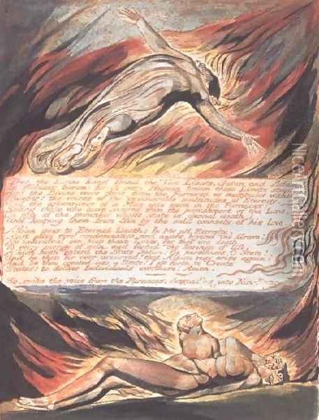 Jerusalem The Emanation of the Giant- 'Then the Divine Hand' showing Christ soaring above Albion within whose bosom 'the Divine hand found the Two Limits, Satan and Adam', 1804 Oil Painting - William Blake