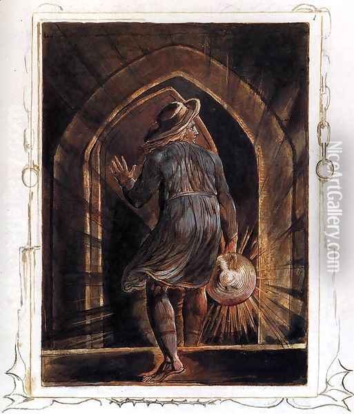 Los Entering The Grave Oil Painting - William Blake