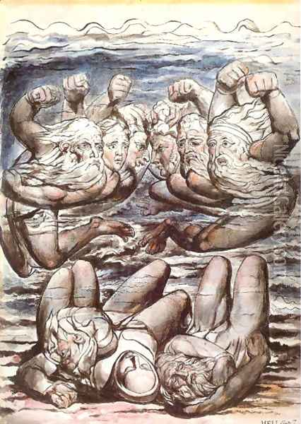 Inferno, Canto VII, 110-127, The Stygian Lake with angry sinners fighting. Oil Painting - William Blake