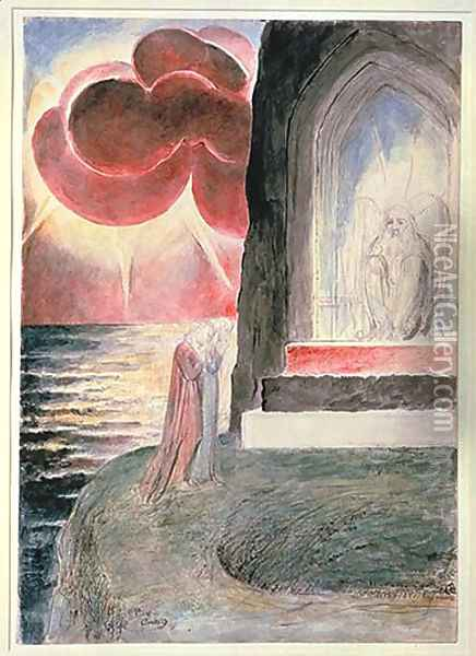 Purgatory, Canto 9, Dante and Virgil before the Angelic Guardian of the Gate of Purgatory Oil Painting - William Blake