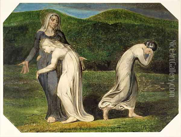 Naomi entreating Ruth and Orpah to return to the land of Moab, from a series of 12 known as 'The Large Colour Prints', 1795 Oil Painting - William Blake
