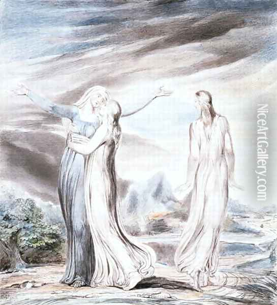 Ruth parting from Naomi, 1803 Oil Painting - William Blake