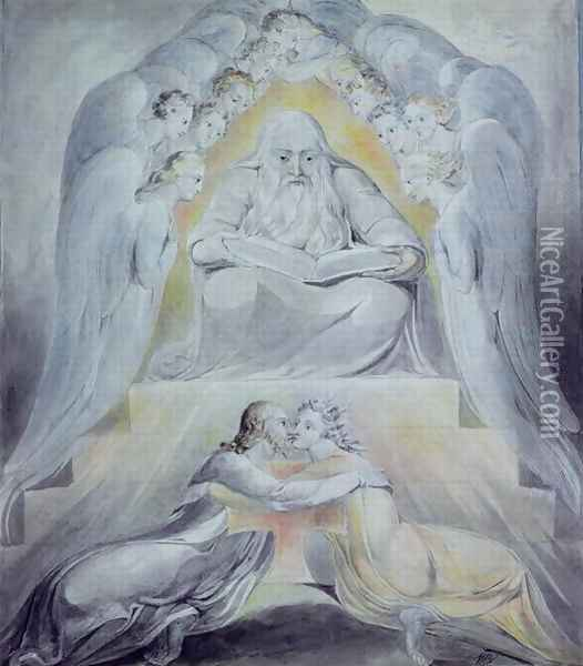 Mercy and Truth are met together, Righteousness and Peace have kissed each other Oil Painting - William Blake