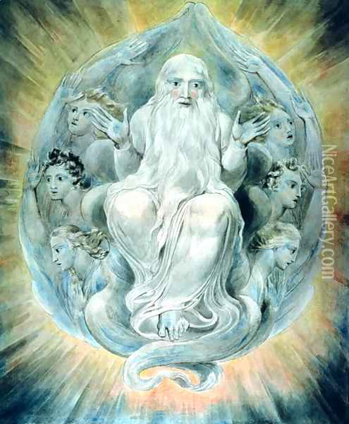 And God Blessed the Seventh Day and Sanctified It Oil Painting - William Blake