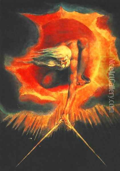 God as an Architect, illustration from The Ancient of Days 1794 Oil Painting - William Blake