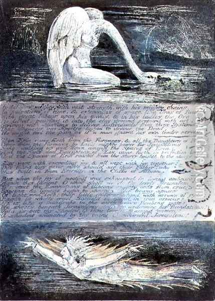 Plate II, Jerusalem, c.1804-20. The daughters of Albion represented by swan-like and fish-like creatures Oil Painting - William Blake