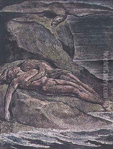 Milton a Poem- Albion on the rock, 1804 Oil Painting - William Blake