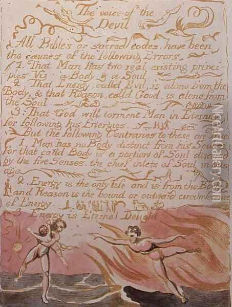 The Marriage of Heaven and Hell- The Voice of the Devil, c.1790 Oil Painting - William Blake