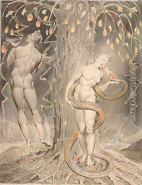 The Temptation and Fall of Eve Oil Painting - William Blake