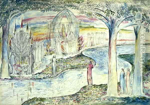 Beatrice on the Car, Matilda and Dante Oil Painting - William Blake