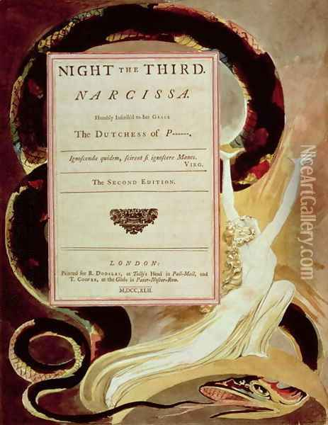 Illustration from Young's Night Thoughts, Night III, Narcissa Oil Painting - William Blake