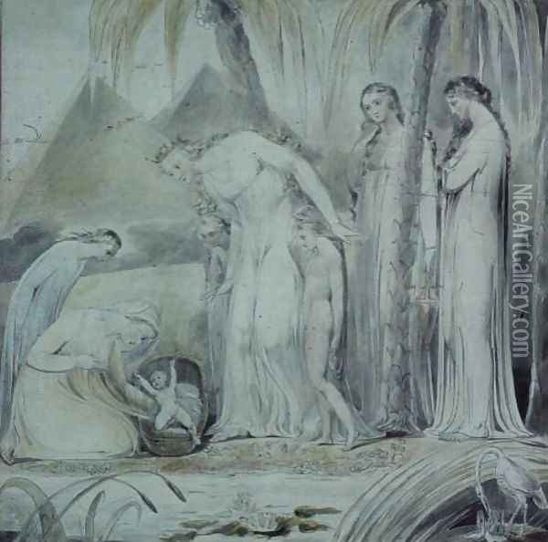 The compassion of Pharaoh's Daughter or The Finding of Moses Oil Painting - William Blake