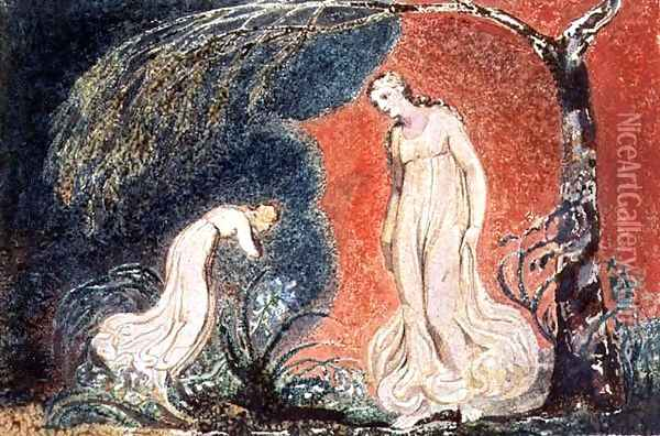 Book of Thel- the Lily bowing before Thel, before going off 'to mind her numerous charge among the verdant grass', 1789 Oil Painting - William Blake