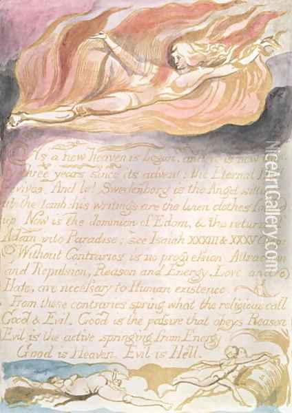 The Marriage of Heaven and Hell- 'As a new heaven is begun', c.1790 Oil Painting - William Blake