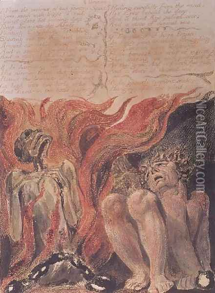 Book of Urizen- 'from the caverns of his jointed spine', 1794 Oil Painting - William Blake