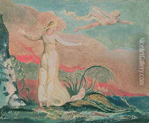 The Book of Thel; Plate 4 Thel in the Vale of Har, 1794 Oil Painting - William Blake