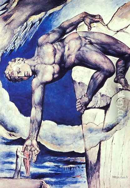 Inferno, Canto XXXI, Antaeus sets down Dante and Virgil in the 9th circle Oil Painting - William Blake