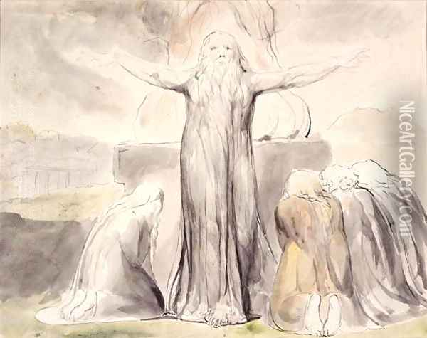 Job's Sacrifice- And my servant Job shall pray for you Oil Painting - William Blake