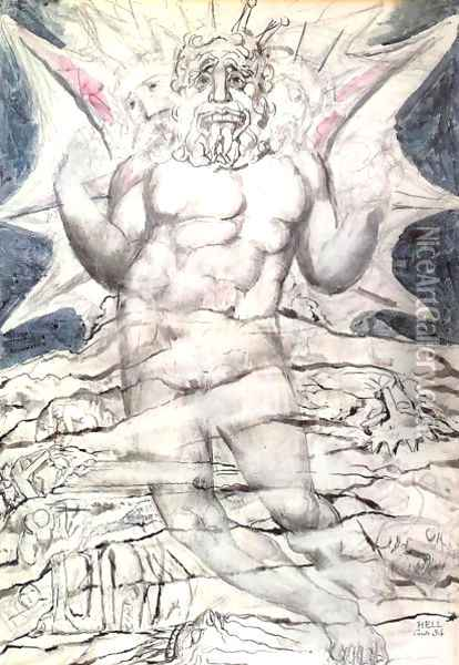 Inferno, Canto XXXIV, 22-64, Lucifer at the last section of the nineth circle Oil Painting - William Blake