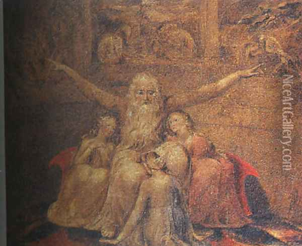 Job and his Daughters 1799-1800 Oil Painting - William Blake