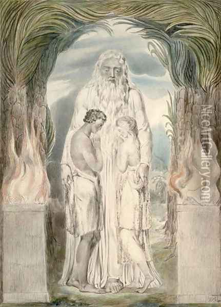 The Angel of the Divine Presence Oil Painting - William Blake