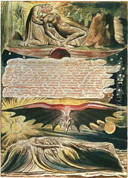 Jerusalem The Emanation of the Giant Albion- 'And One stood forth', top to bottom, Los supported by Christ; Albion's burial in the Supulcher, 1804 Oil Painting - William Blake