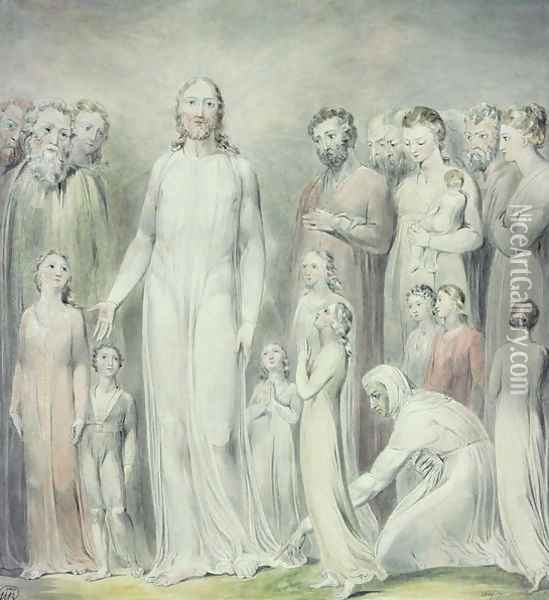The Healing of the Woman with an Issue of Blood, 1808 Oil Painting - William Blake