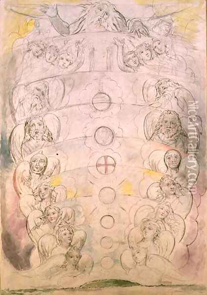 The Deity from Whom Proceed the nine Spheres Oil Painting - William Blake