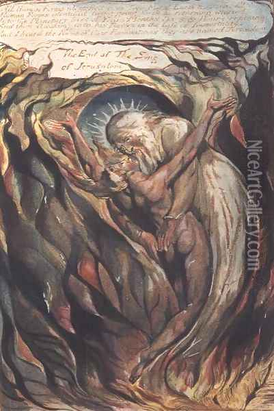 Jerusalem The Emanation of the Giant Albion- plate 99 'All Human Forms' Oil Painting - William Blake