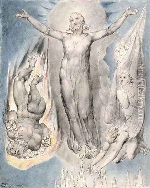 Christ on the Pinnacle of the Temple Oil Painting - William Blake