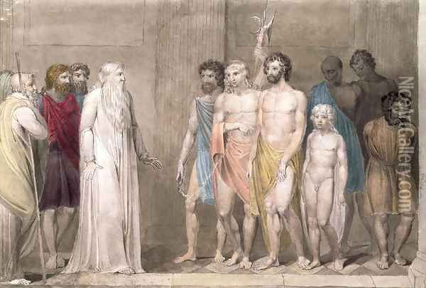 St. Gregory and the British Captives Oil Painting - William Blake