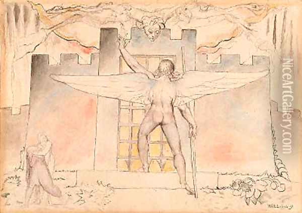 Inferno, Canto IX, 44-64, The Angel an the Gate of Dis Oil Painting - William Blake