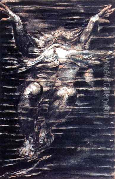 The First Book of Urizen- Bearded man swimming through water, 1794 Oil Painting - William Blake