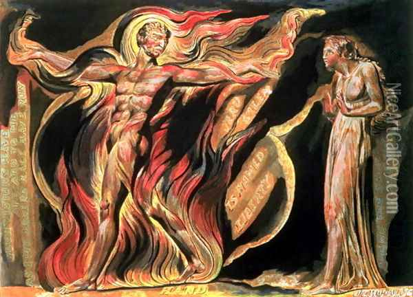 Jerusalem The Emanation of The Giant Albion- 'Such visions have appeared to me', 1804 Oil Painting - William Blake