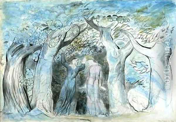 Inferno, Canto II, 139-141, Dante and Virgil enter the wood Oil Painting - William Blake