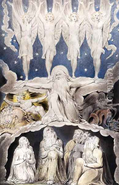 The Book of Job: When the Morning Stars Sang Together Oil Painting - William Blake