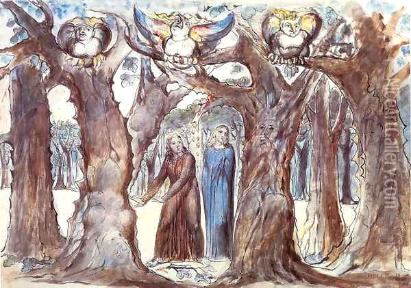 Inferno, Canto XIII, 1-45, The Wood of Self-Violators: The Harpies and the Suicides Oil Painting - William Blake