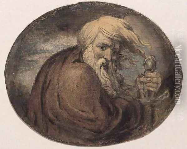 Lear Grasping a Sword Oil Painting - William Blake