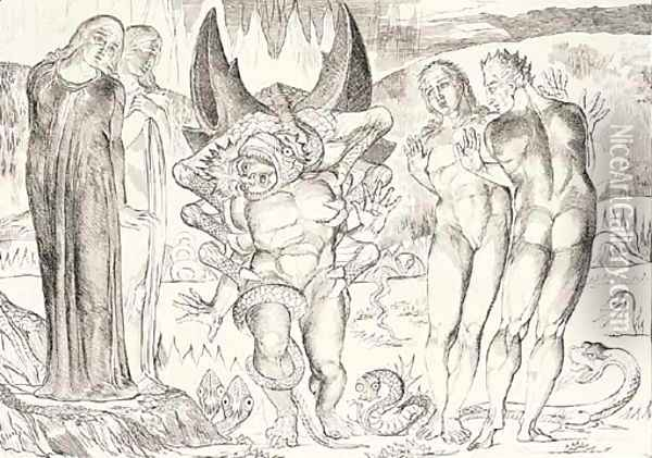 Illustrations to Dante's Divine Comedy Oil Painting - William Blake