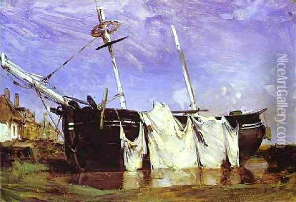 A Boat Beached In A Port At Low Tide Oil Painting - Richard Parkes Bonington