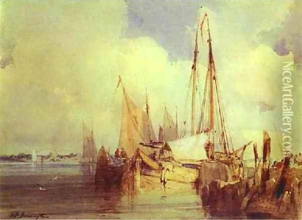 French River Scene With Fishing Boats Oil Painting - Richard Parkes Bonington