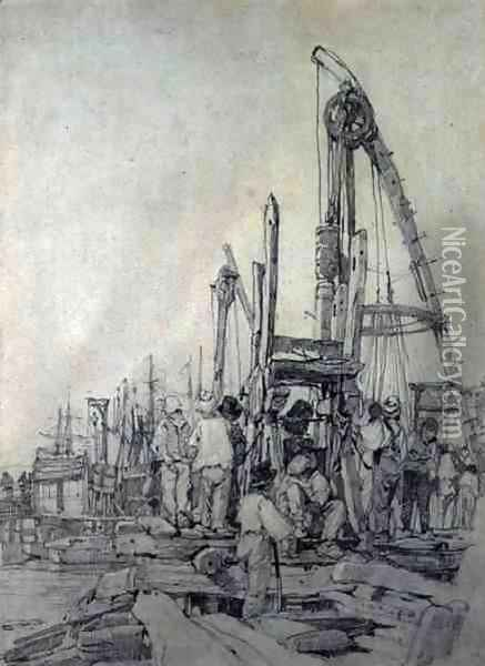 Pile Drivers, Rouen 1821-22 Oil Painting - Richard Parkes Bonington