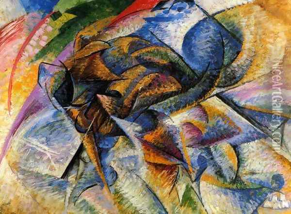 Dynamism of a Cyclist Oil Painting - Umberto Boccioni