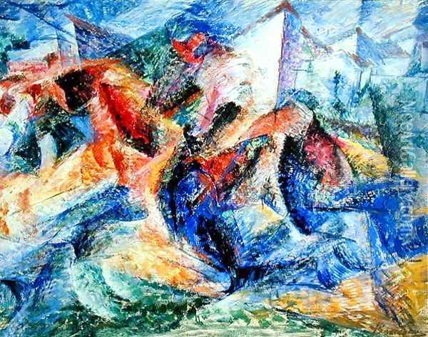 Horse and Rider and Buildings, 1914 Oil Painting - Umberto Boccioni