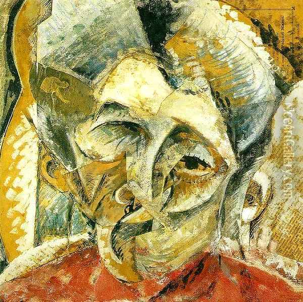 Dynamism of a Woman's Head Oil Painting - Umberto Boccioni