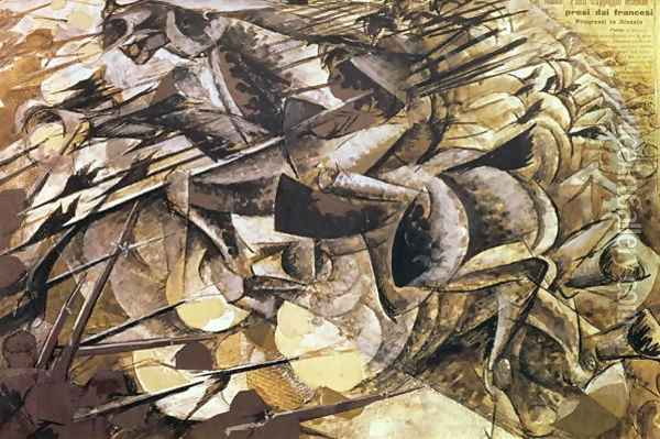 The Charge of the Lancers 1915 Oil Painting - Umberto Boccioni