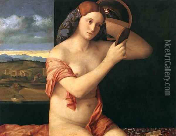 Naked Young Woman in Front of the Mirror 1515 Oil Painting - Giovanni Bellini