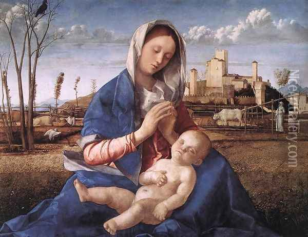 Madonna of the Meadow (Madonna del prato) 1505 Oil Painting - Giovanni Bellini