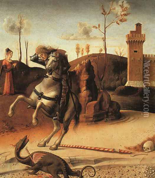 Pesaro Altarpiece, detail of the predella featuring St. George Fighting the Dragon 1470s Oil Painting - Giovanni Bellini